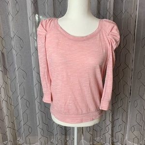 Free People Pink Puffy Shoulder Top Small